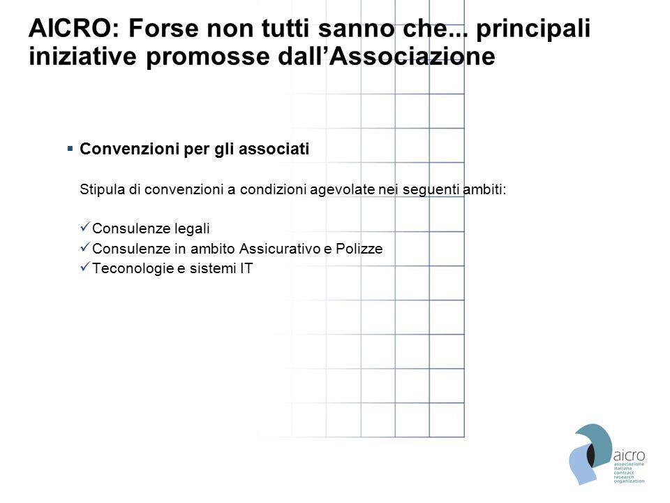 AICRO: Forse non tutti sanno che... principali iniziative promosse dall'Associazione  Convenzioni per gli associati Stipula di convenzioni a condizio