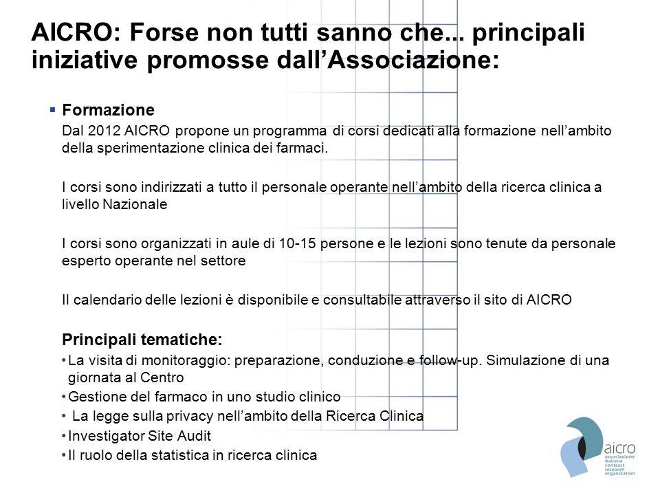 AICRO: Forse non tutti sanno che... principali iniziative promosse dall'Associazione:  Formazione Dal 2012 AICRO propone un programma di corsi dedica
