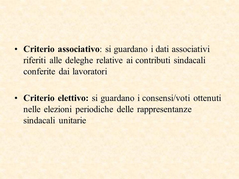 Criterio associativo: si guardano i dati associativi riferiti alle deleghe relative ai contributi sindacali conferite dai lavoratori Criterio elettivo: si guardano i consensi/voti ottenuti nelle elezioni periodiche delle rappresentanze sindacali unitarie