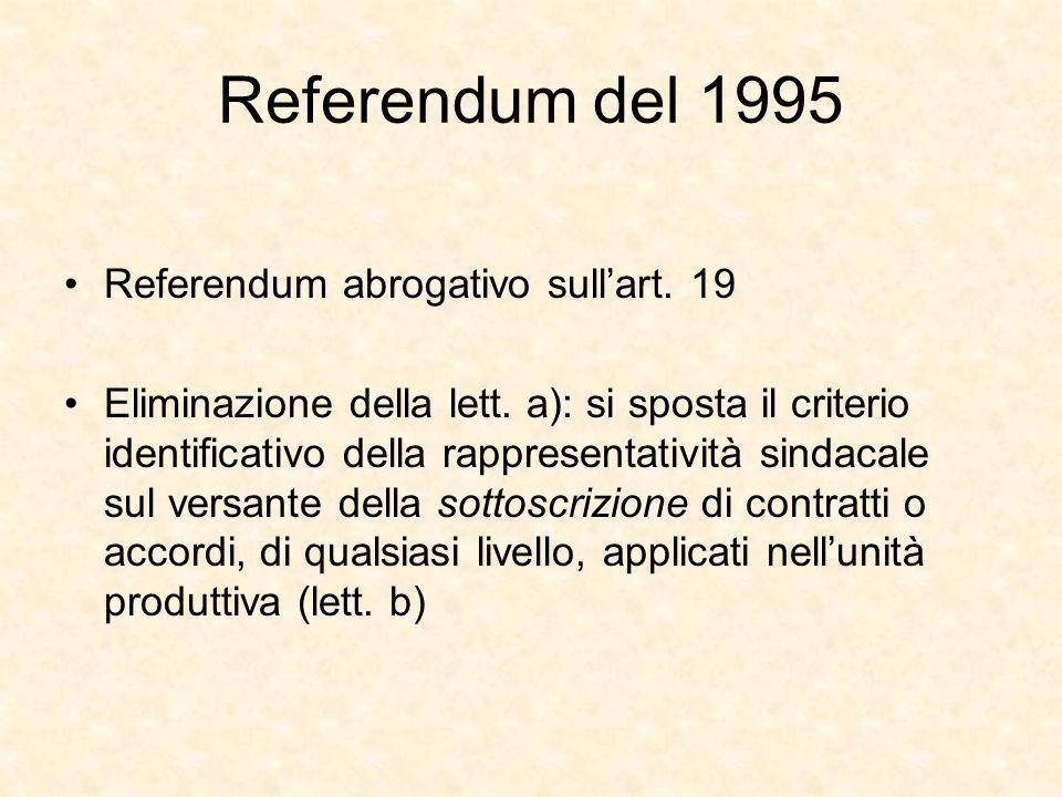 Referendum del 1995 Referendum abrogativo sull'art. 19 Eliminazione della lett. a): si sposta il criterio identificativo della rappresentatività sinda