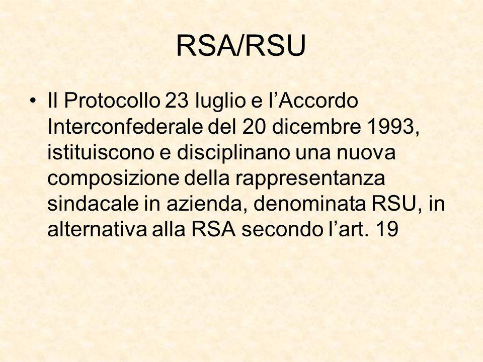 RSA/RSU Il Protocollo 23 luglio e l'Accordo Interconfederale del 20 dicembre 1993, istituiscono e disciplinano una nuova composizione della rappresent