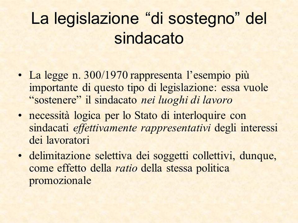 """La legislazione """"di sostegno"""" del sindacato La legge n. 300/1970 rappresenta l'esempio più importante di questo tipo di legislazione: essa vuole """"sost"""