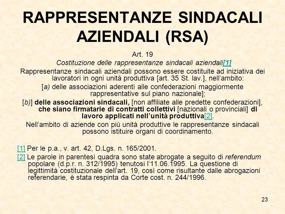 23 RAPPRESENTANZE SINDACALI AZIENDALI (RSA) Art. 19 Costituzione delle rappresentanze sindacali aziendali[1][1] Rappresentanze sindacali aziendali pos