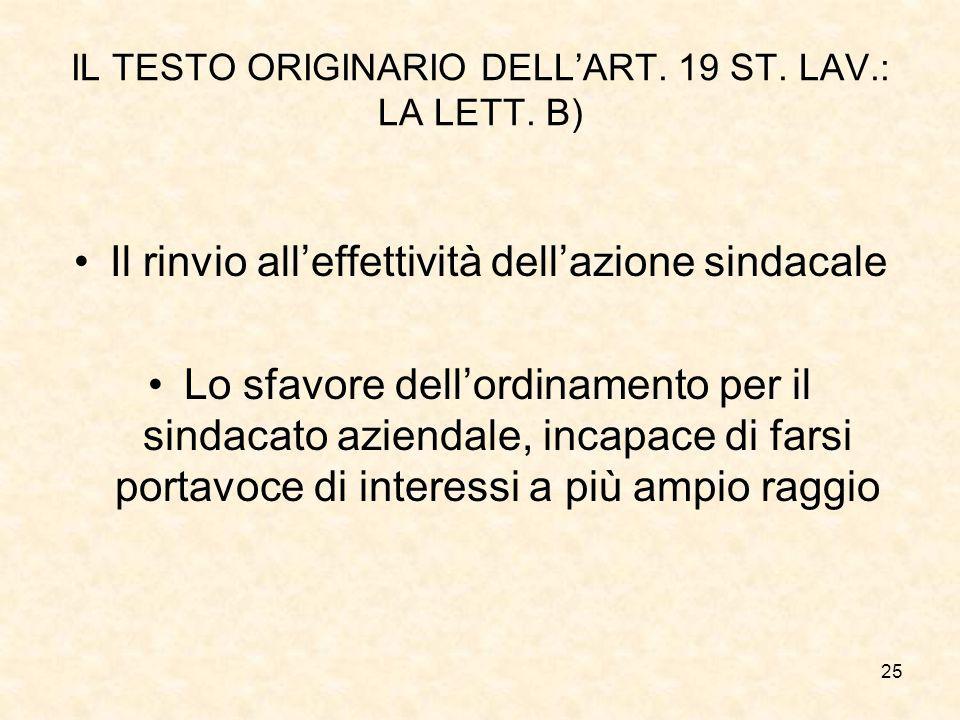 25 IL TESTO ORIGINARIO DELL'ART. 19 ST. LAV.: LA LETT. B) Il rinvio all'effettività dell'azione sindacale Lo sfavore dell'ordinamento per il sindacato