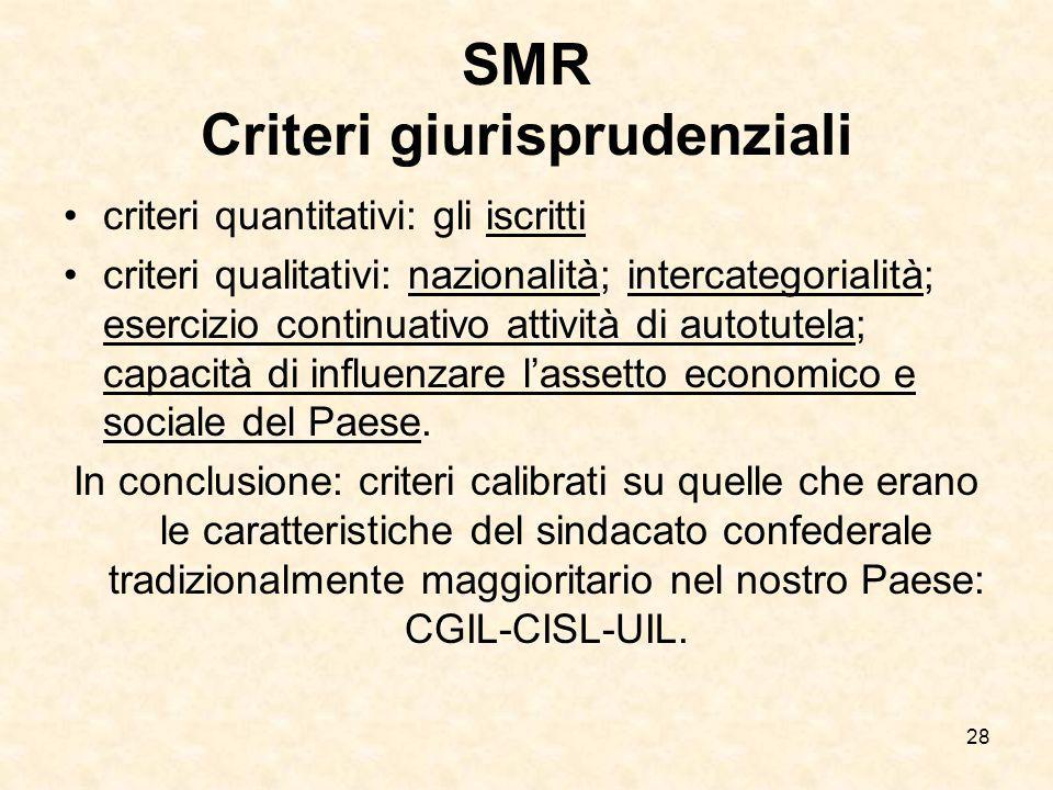 28 SMR Criteri giurisprudenziali criteri quantitativi: gli iscritti criteri qualitativi: nazionalità; intercategorialità; esercizio continuativo attiv