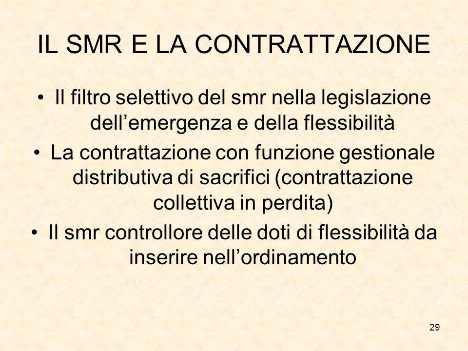 29 IL SMR E LA CONTRATTAZIONE Il filtro selettivo del smr nella legislazione dell'emergenza e della flessibilità La contrattazione con funzione gestio