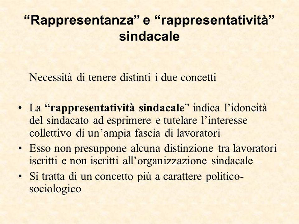 """""""Rappresentanza"""" e """"rappresentatività"""" sindacale Necessità di tenere distinti i due concetti La """"rappresentatività sindacale"""" indica l'idoneità del si"""