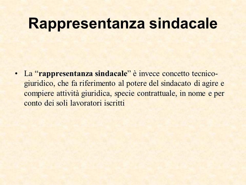 """Rappresentanza sindacale La """"rappresentanza sindacale"""" è invece concetto tecnico- giuridico, che fa riferimento al potere del sindacato di agire e com"""