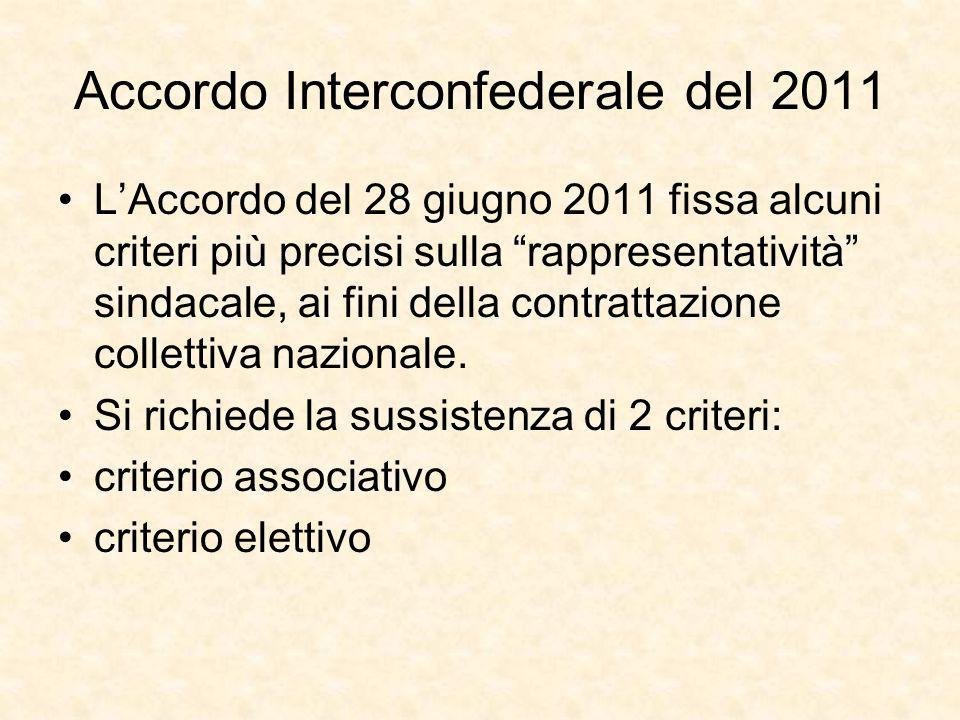 """Accordo Interconfederale del 2011 L'Accordo del 28 giugno 2011 fissa alcuni criteri più precisi sulla """"rappresentatività"""" sindacale, ai fini della con"""