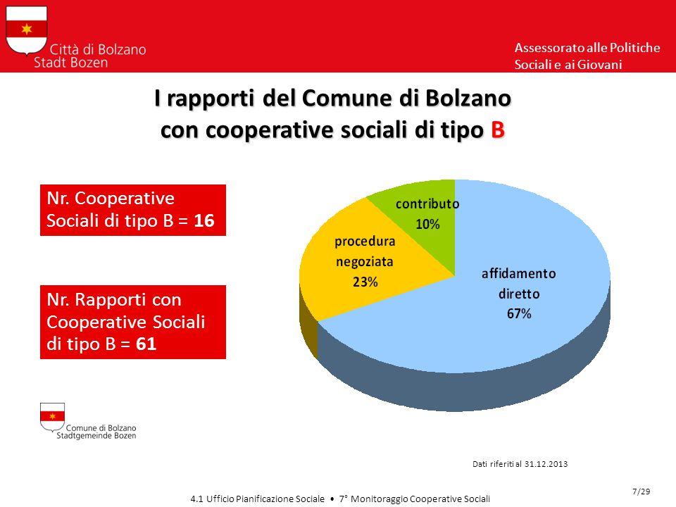 Assessorato alle Politiche Sociali e ai Giovani 4.1 Ufficio Pianificazione Sociale 7° Monitoraggio Cooperative Sociali Il valore economico nel 2013… Dati riferiti al 31.12.2013 18/29