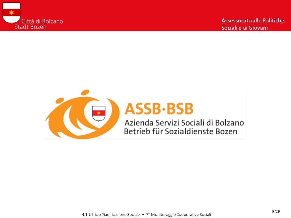 Assessorato alle Politiche Sociali e ai Giovani 4.1 Ufficio Pianificazione Sociale 7° Monitoraggio Cooperative Sociali 9/29