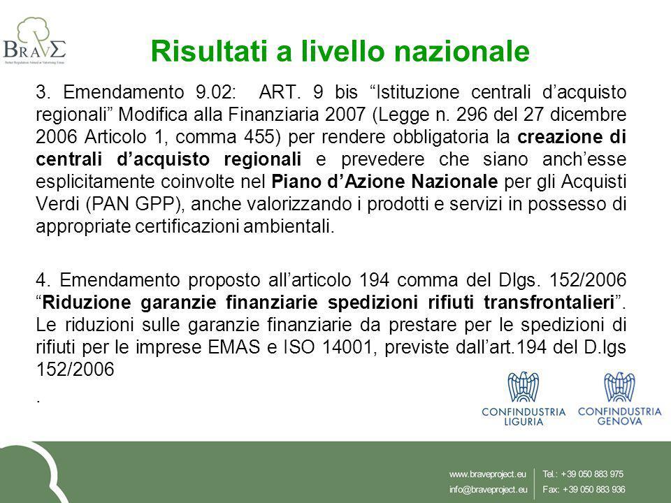 """3. Emendamento 9.02: ART. 9 bis """"Istituzione centrali d'acquisto regionali"""" Modifica alla Finanziaria 2007 (Legge n. 296 del 27 dicembre 2006 Articolo"""