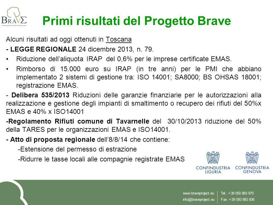 Primi risultati del Progetto Brave Alcuni risultati ad oggi ottenuti in Toscana - LEGGE REGIONALE 24 dicembre 2013, n. 79. Riduzione dell'aliquota IRA