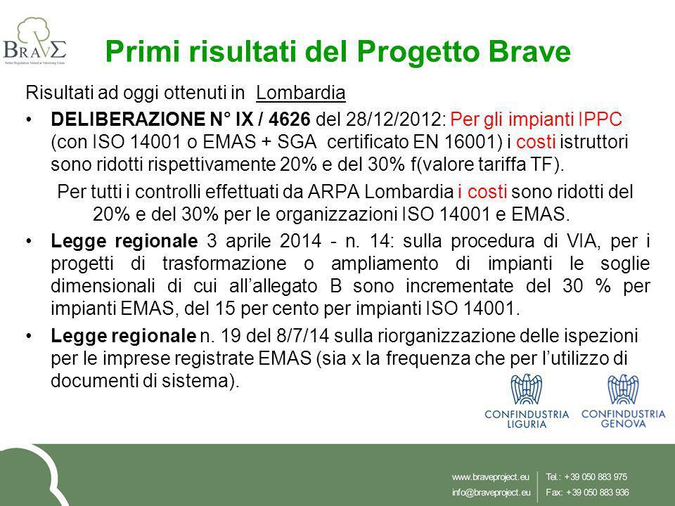 Primi risultati del Progetto Brave Risultati ad oggi ottenuti in Lombardia DELIBERAZIONE N° IX / 4626 del 28/12/2012: Per gli impianti IPPC (con ISO 1