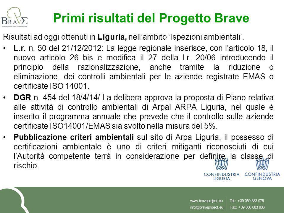 Primi risultati del Progetto Brave Risultati ad oggi ottenuti in Liguria, nell'ambito 'Ispezioni ambientali'. L.r. n. 50 del 21/12/2012: La legge regi