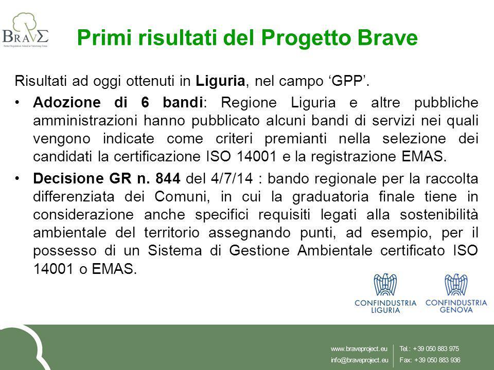 Primi risultati del Progetto Brave Risultati ad oggi ottenuti in Liguria, nel campo 'GPP'. Adozione di 6 bandi: Regione Liguria e altre pubbliche ammi