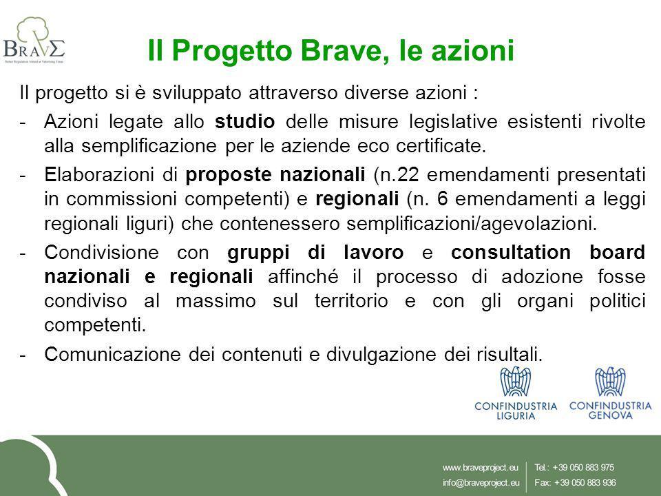 Il Progetto Brave, le azioni Il progetto si è sviluppato attraverso diverse azioni : -Azioni legate allo studio delle misure legislative esistenti rivolte alla semplificazione per le aziende eco certificate.