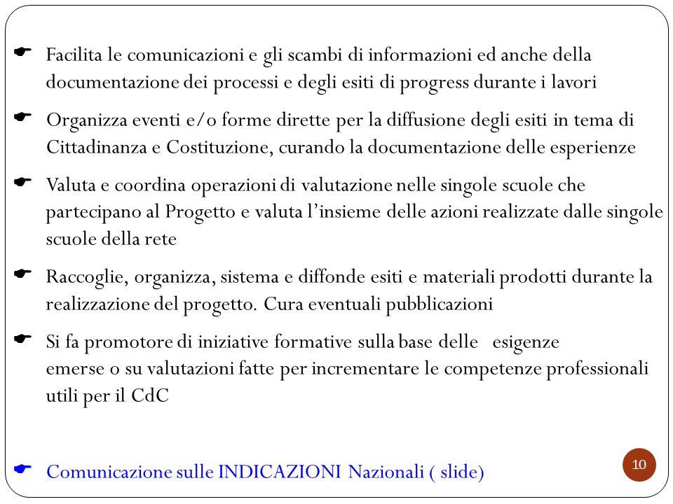10  Facilita le comunicazioni e gli scambi di informazioni ed anche della documentazione dei processi e degli esiti di progress durante i lavori  Or