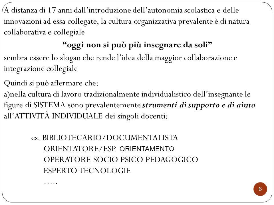 7 b)nella cultura collegiale le figure di sistema sono poste a presidio del coordinamento dei momenti di azione collegiali es.