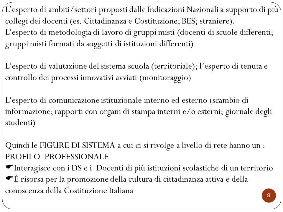 9 L'esperto di ambiti/settori proposti dalle Indicazioni Nazionali a supporto di più collegi dei docenti (es. Cittadinanza e Costituzione; BES; strani
