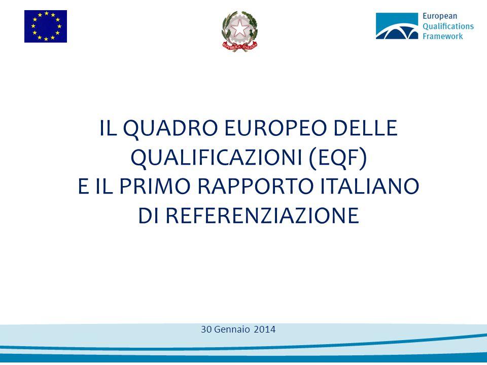 Output 2012: il Rapporto e le decisioni assunte Accordo Stato – Regioni del 20/12/2012 Le Autorità Competenti Adottano il quadro di referenziazione delle qualificazioni italiane all'EQF Approvano il Rapporto in cui si forniscono le motivazioni a supporto delle referenziazioni effettuate sulla base dei criteri previsti Decidono che il livello di riferimento EQF sarà inserito in tutti i certificati rilasciati a partire dal 01/01/2014 Il RAPPORTO Il RAPPORTO:  Contiene una mappatura dei percorsi e delle qualificazioni rilasciate nel sistema italiano di apprendimento permanente  Copre una parte rilevante delle qualificazioni rilasciate (circa l'85% dei partecipanti a percorsi dell'apprendimento permanente - dati 2010-11)  È il primo risultato di un processo che ha coinvolti molti attori  È approvato all'unanimità dalle autorità competenti
