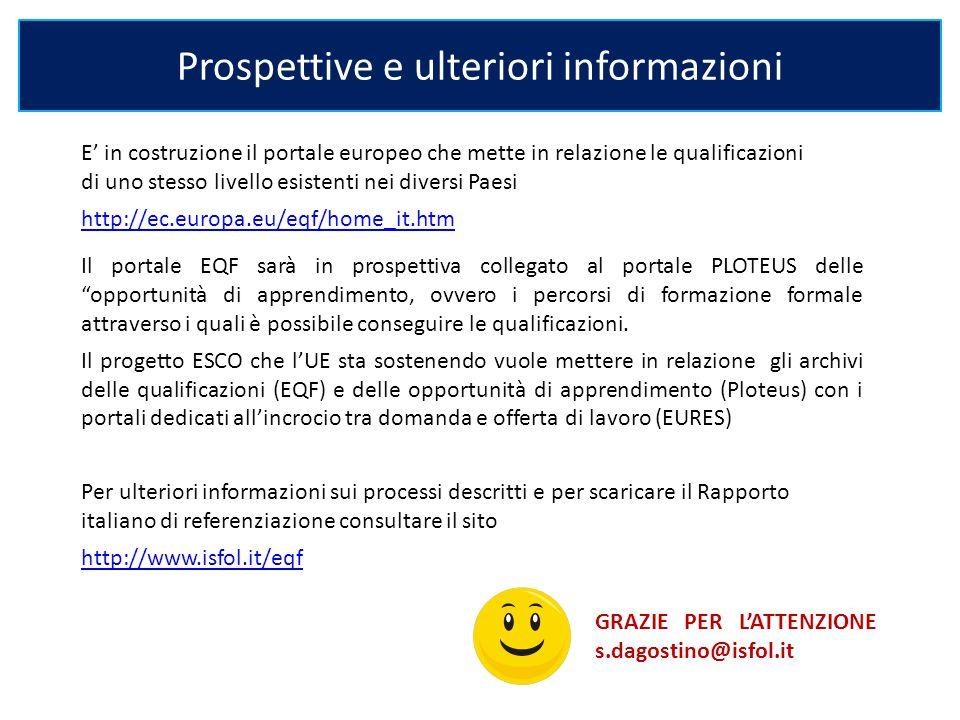 E' in costruzione il portale europeo che mette in relazione le qualificazioni di uno stesso livello esistenti nei diversi Paesi http://ec.europa.eu/eq