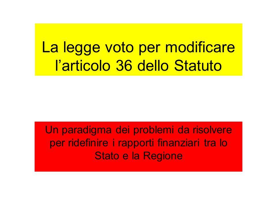 La legge voto per modificare l'articolo 36 dello Statuto Un paradigma dei problemi da risolvere per ridefinire i rapporti finanziari tra lo Stato e la Regione