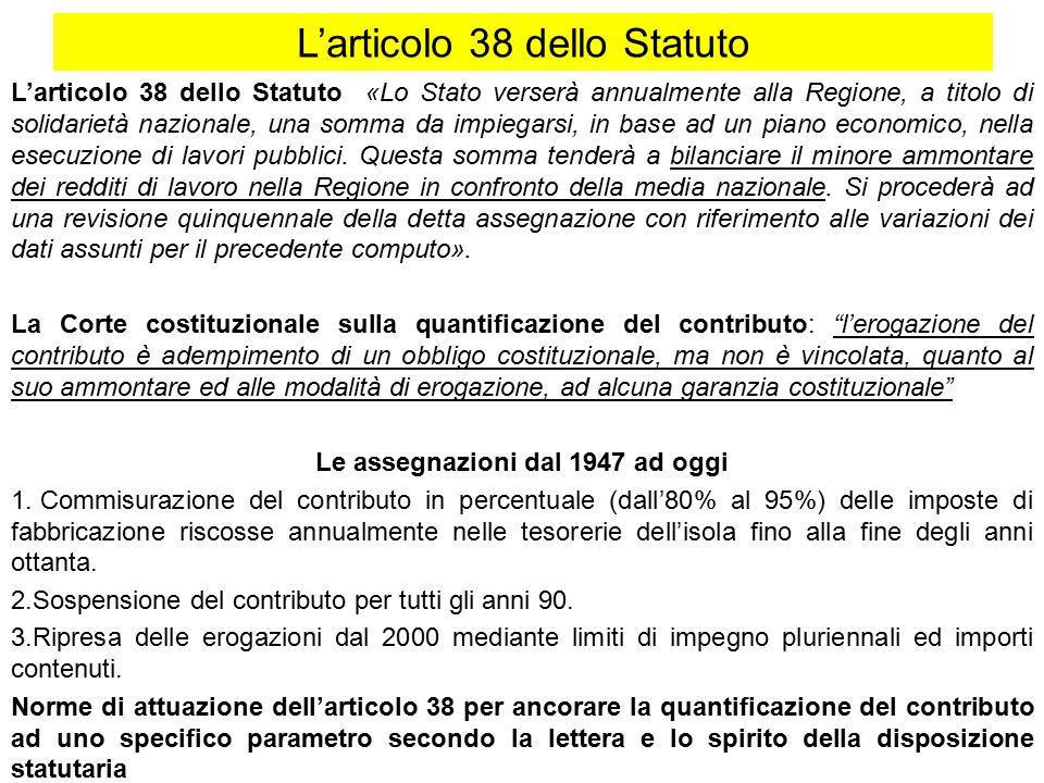 L'articolo 38 dello Statuto L'articolo 38 dello Statuto «Lo Stato verserà annualmente alla Regione, a titolo di solidarietà nazionale, una somma da impiegarsi, in base ad un piano economico, nella esecuzione di lavori pubblici.