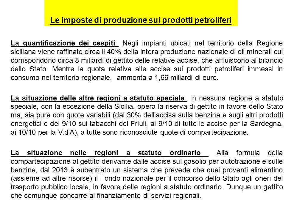 Le imposte di produzione sui prodotti petroliferi La quantificazione dei cespiti Negli impianti ubicati nel territorio della Regione siciliana viene raffinato circa il 40% della intera produzione nazionale di oli minerali cui corrispondono circa 8 miliardi di gettito delle relative accise, che affluiscono al bilancio dello Stato.