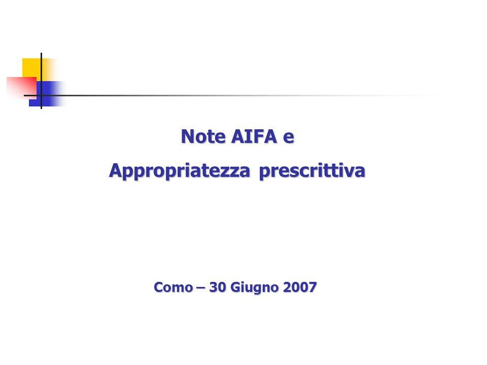 Note AIFA e Appropriatezza prescrittiva Como – 30 Giugno 2007