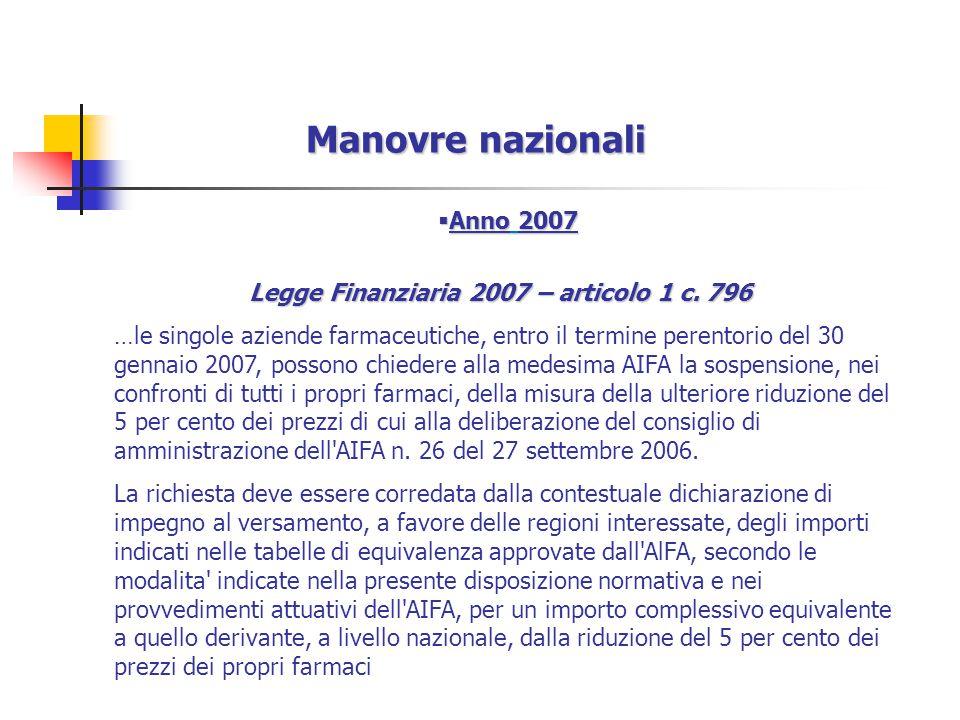  Anno 2007 Legge Finanziaria 2007 – articolo 1 c.