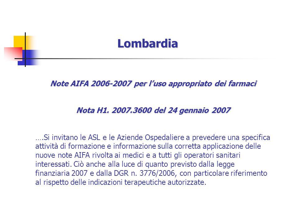 Lombardia Note AIFA 2006-2007 per l'uso appropriato dei farmaci Nota H1.