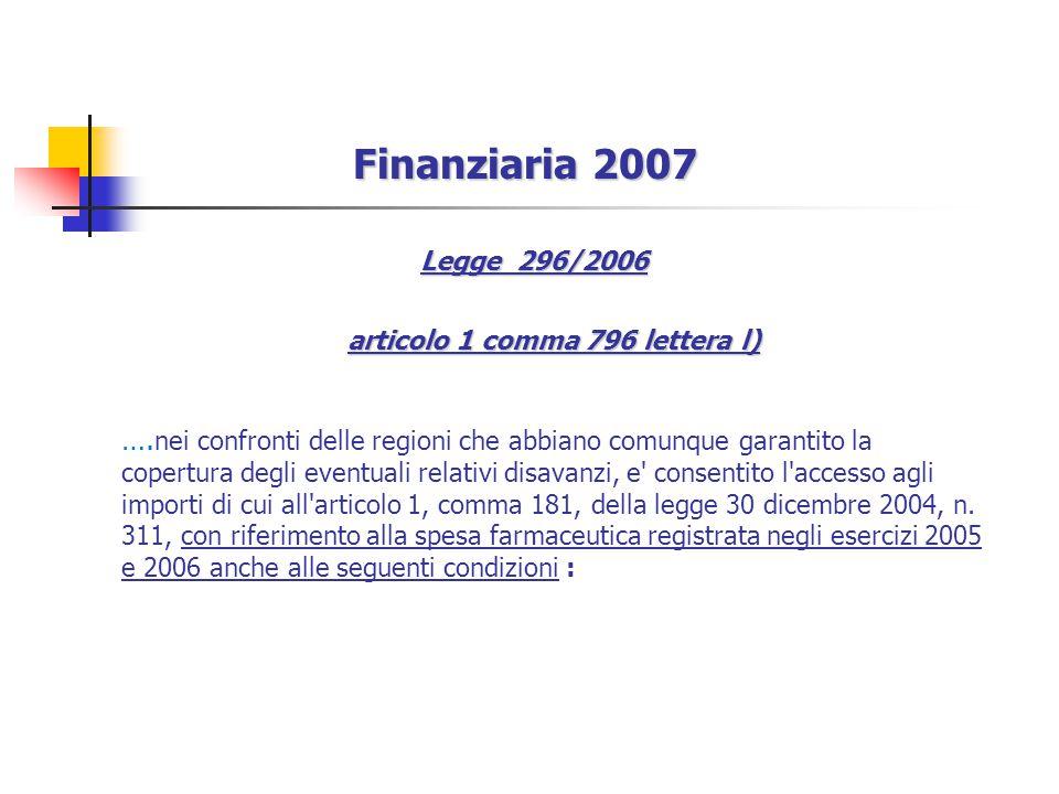 Finanziaria 2007 Legge 296/2006 articolo 1 comma 796 lettera l) ….