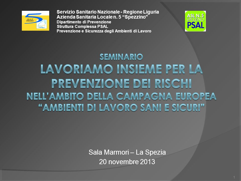 1 Servizio Sanitario Nazionale - Regione Liguria Azienda Sanitaria Locale n.