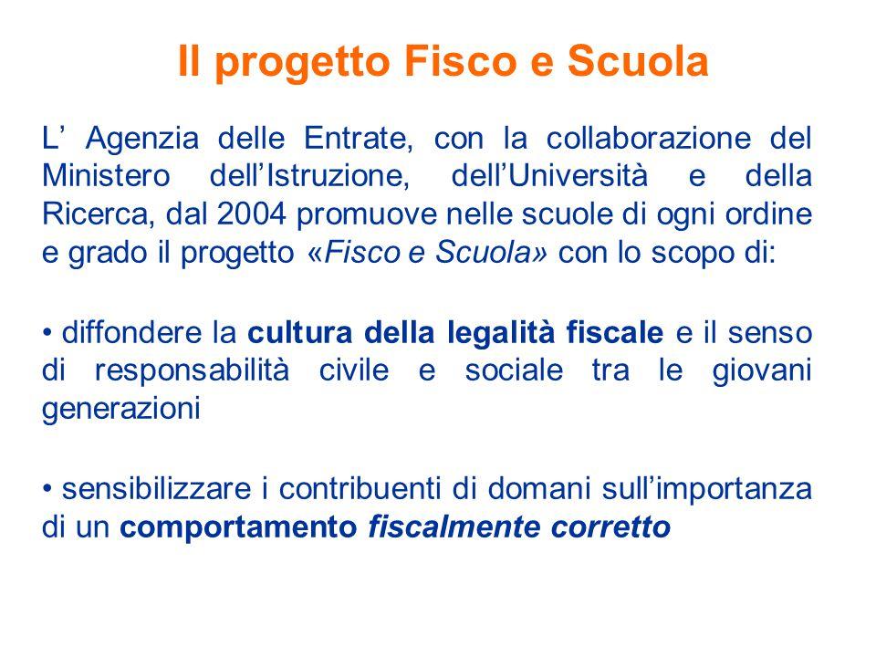 Il progetto Fisco e Scuola L' Agenzia delle Entrate, con la collaborazione del Ministero dell'Istruzione, dell'Università e della Ricerca, dal 2004 pr