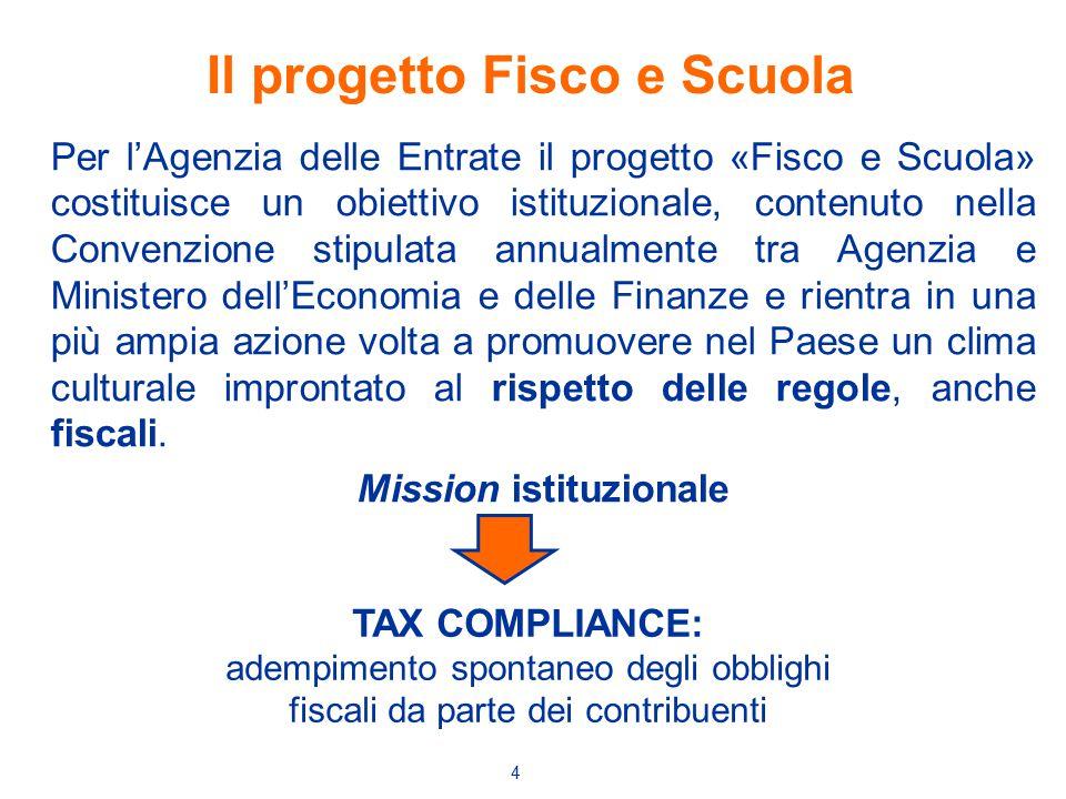 4 Per l'Agenzia delle Entrate il progetto «Fisco e Scuola» costituisce un obiettivo istituzionale, contenuto nella Convenzione stipulata annualmente t
