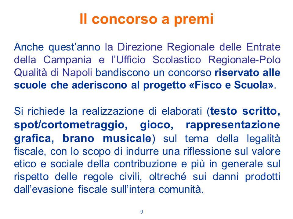 9 Anche quest'anno la Direzione Regionale delle Entrate della Campania e l'Ufficio Scolastico Regionale-Polo Qualità di Napoli bandiscono un concorso riservato alle scuole che aderiscono al progetto «Fisco e Scuola».