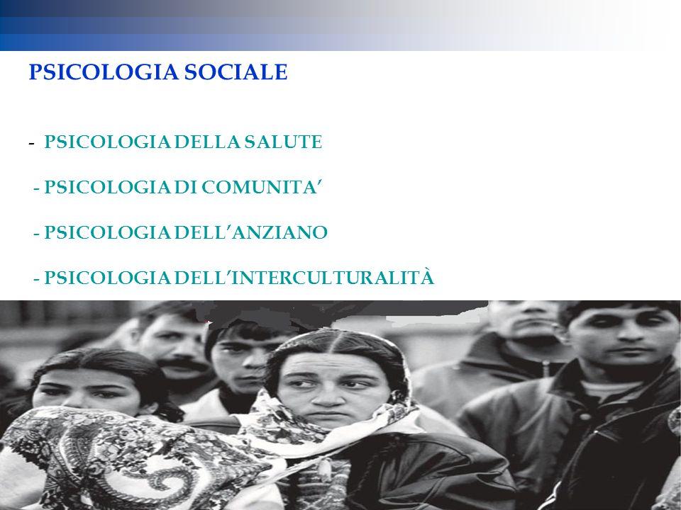 PSICOLOGIA SOCIALE - PSICOLOGIA DELLA SALUTE - PSICOLOGIA DI COMUNITA' - PSICOLOGIA DELL'ANZIANO - PSICOLOGIA DELL'INTERCULTURALITÀ