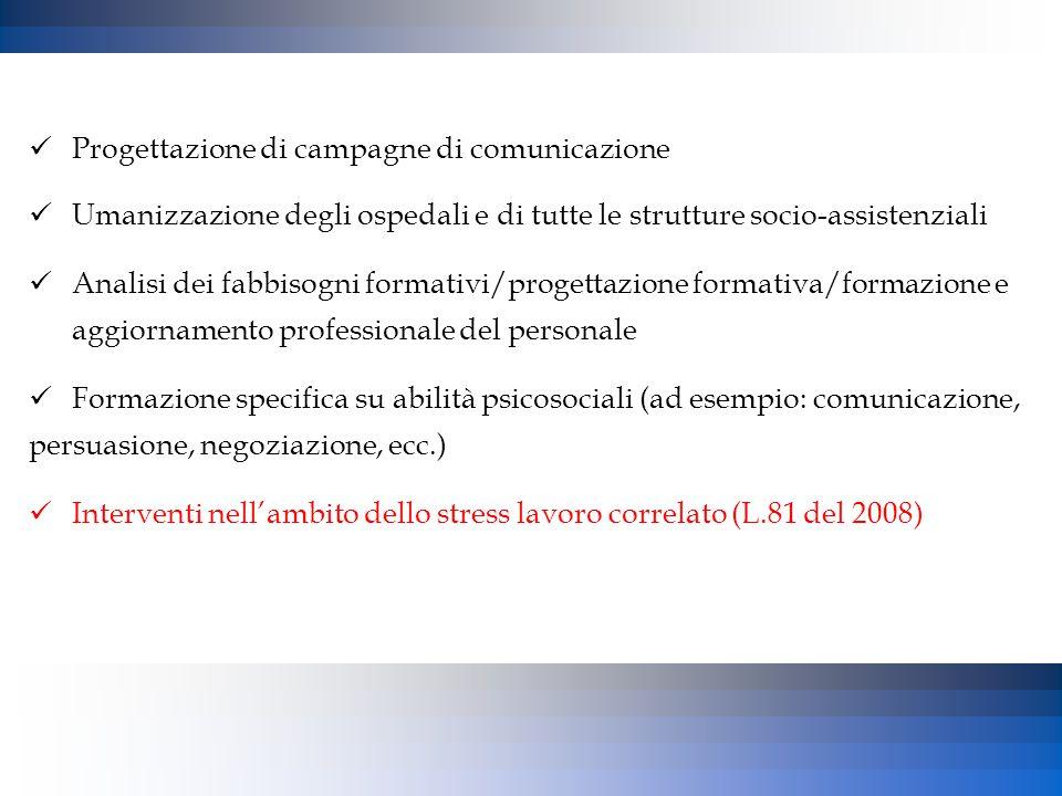 Progettazione di campagne di comunicazione Umanizzazione degli ospedali e di tutte le strutture socio-assistenziali Analisi dei fabbisogni formativi/p