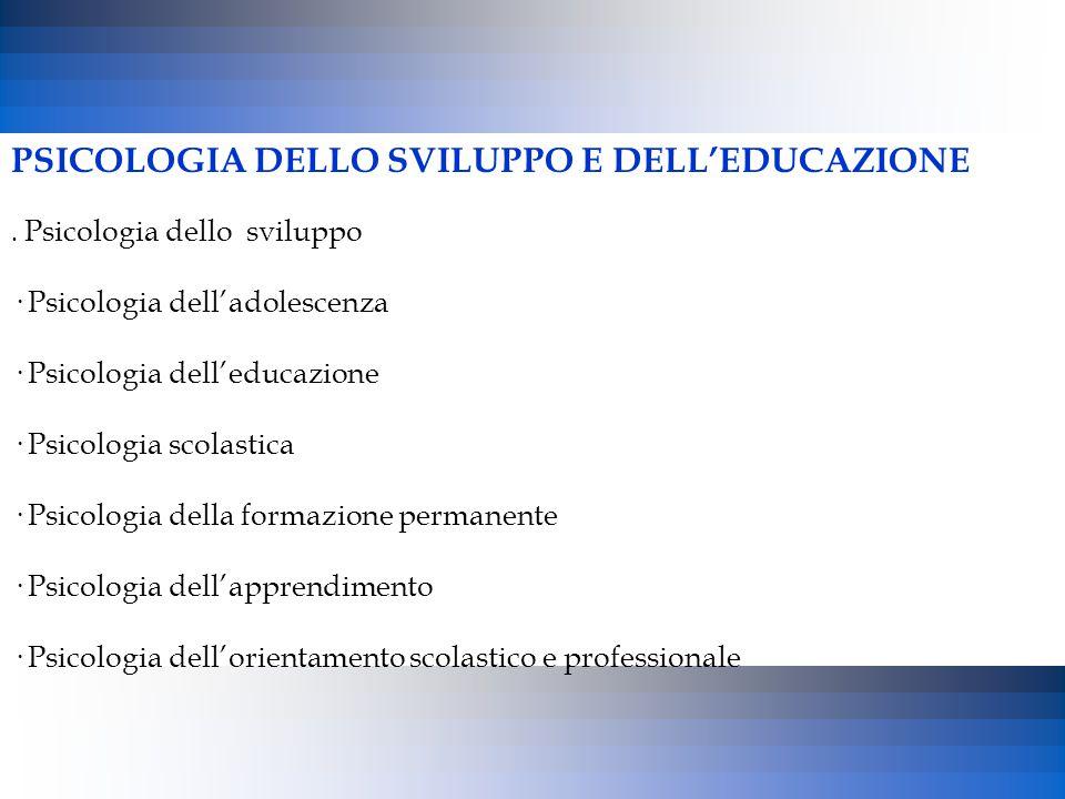 PSICOLOGIA DELLO SVILUPPO E DELL'EDUCAZIONE. Psicologia dello sviluppo · Psicologia dell'adolescenza · Psicologia dell'educazione · Psicologia scolast
