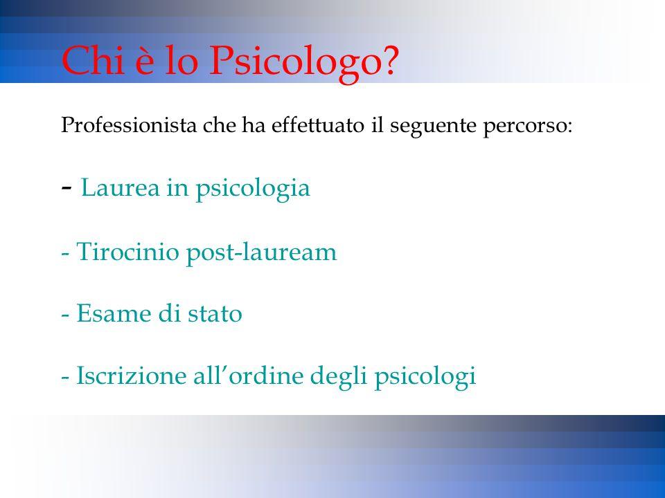 Chi è lo Psicologo? Professionista che ha effettuato il seguente percorso: - Laurea in psicologia - Tirocinio post-lauream - Esame di stato - Iscrizio