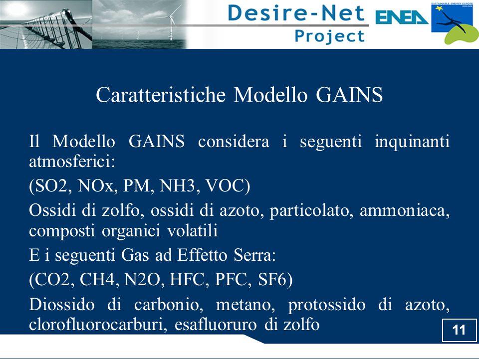 11 Caratteristiche Modello GAINS Il Modello GAINS considera i seguenti inquinanti atmosferici: (SO2, NOx, PM, NH3, VOC) Ossidi di zolfo, ossidi di azo