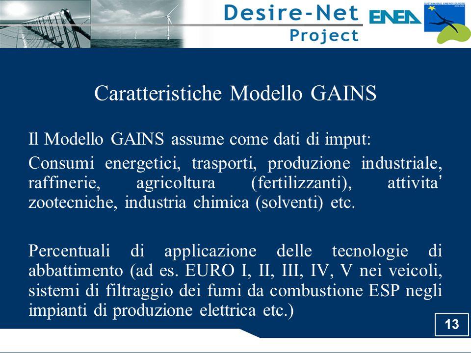 13 Caratteristiche Modello GAINS Il Modello GAINS assume come dati di imput: Consumi energetici, trasporti, produzione industriale, raffinerie, agrico