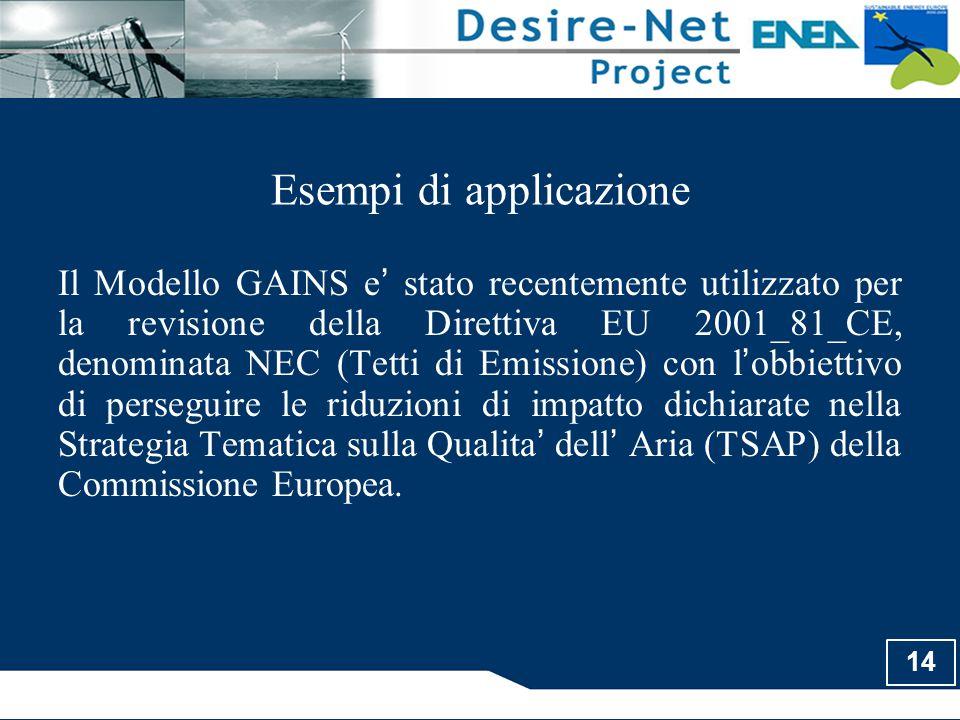 14 Esempi di applicazione Il Modello GAINS e ' stato recentemente utilizzato per la revisione della Direttiva EU 2001_81_CE, denominata NEC (Tetti di