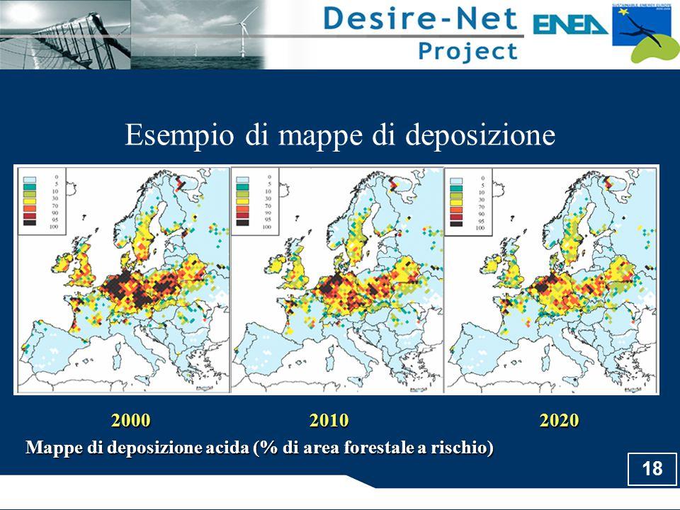 18 Esempio di mappe di deposizione 200020102020 Mappe di deposizione acida (% di area forestale a rischio)
