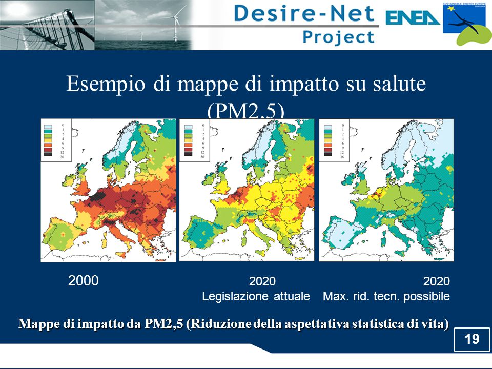 19 Esempio di mappe di impatto su salute (PM2,5) Mappe di impatto da PM2,5 (Riduzione della aspettativa statistica di vita) 2000 2020 2020 Legislazion