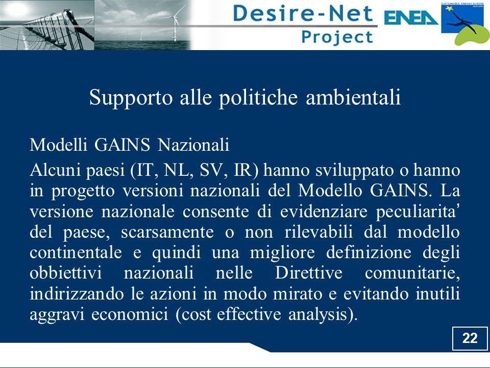 22 Supporto alle politiche ambientali Modelli GAINS Nazionali Alcuni paesi (IT, NL, SV, IR) hanno sviluppato o hanno in progetto versioni nazionali de