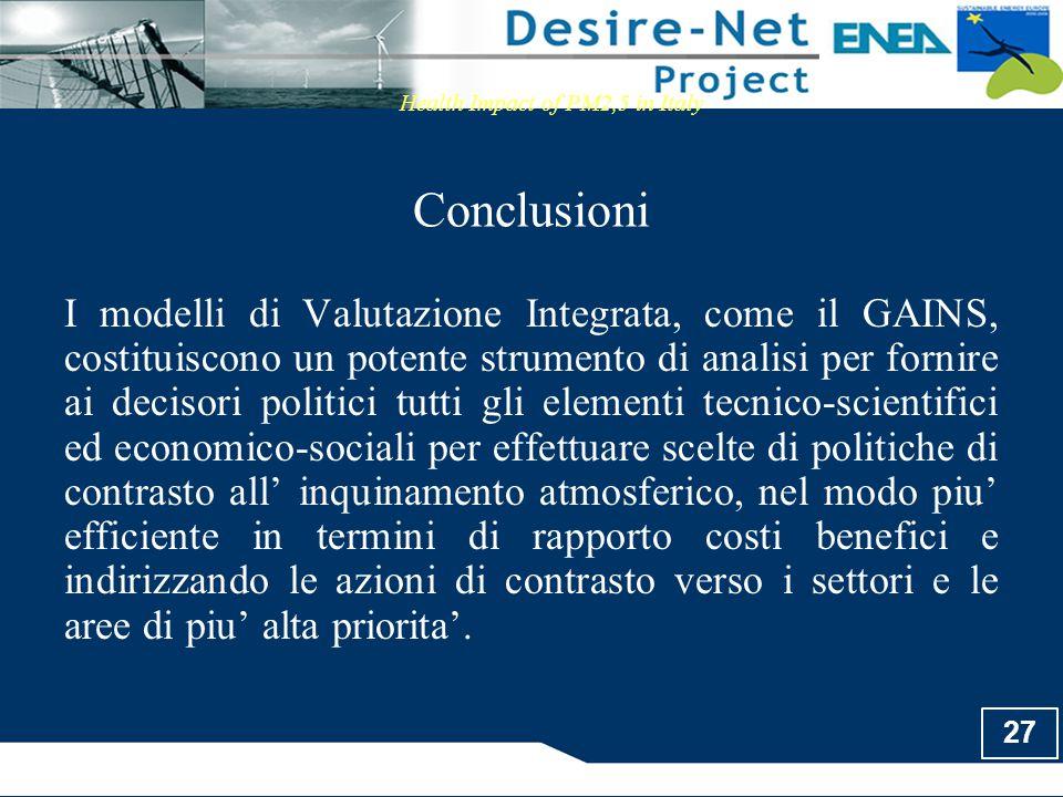 27 Conclusioni Health Impact of PM2,5 in Italy I modelli di Valutazione Integrata, come il GAINS, costituiscono un potente strumento di analisi per fo