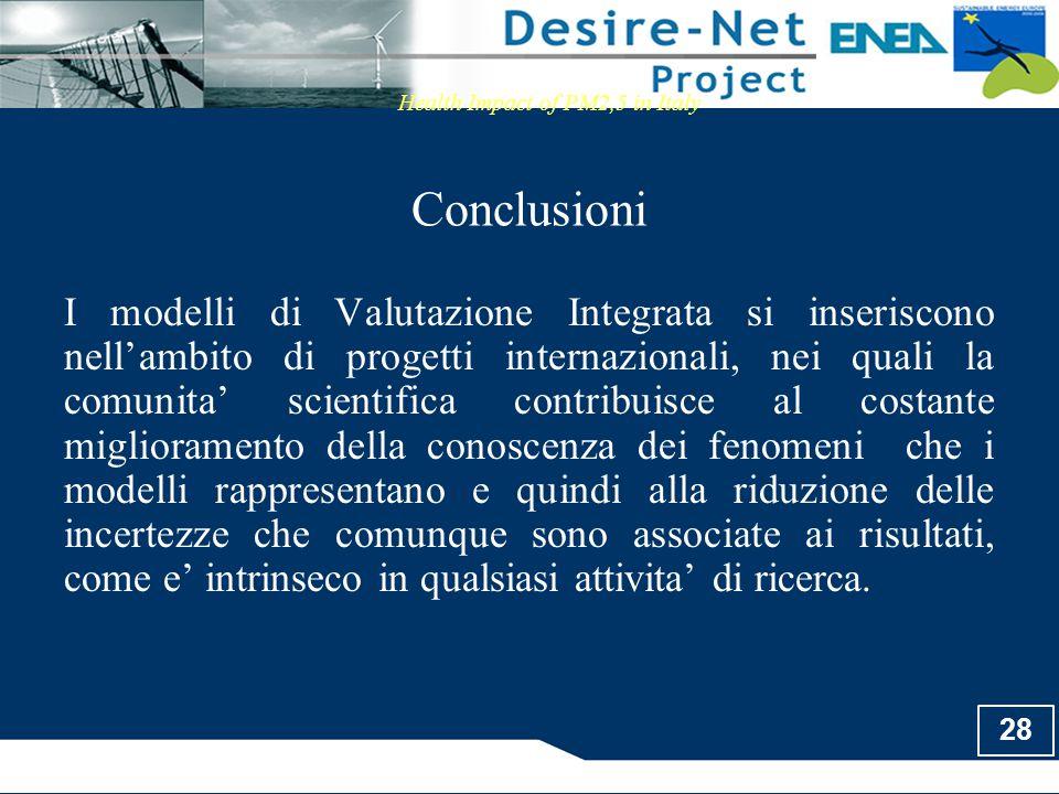 28 Conclusioni Health Impact of PM2,5 in Italy I modelli di Valutazione Integrata si inseriscono nell'ambito di progetti internazionali, nei quali la