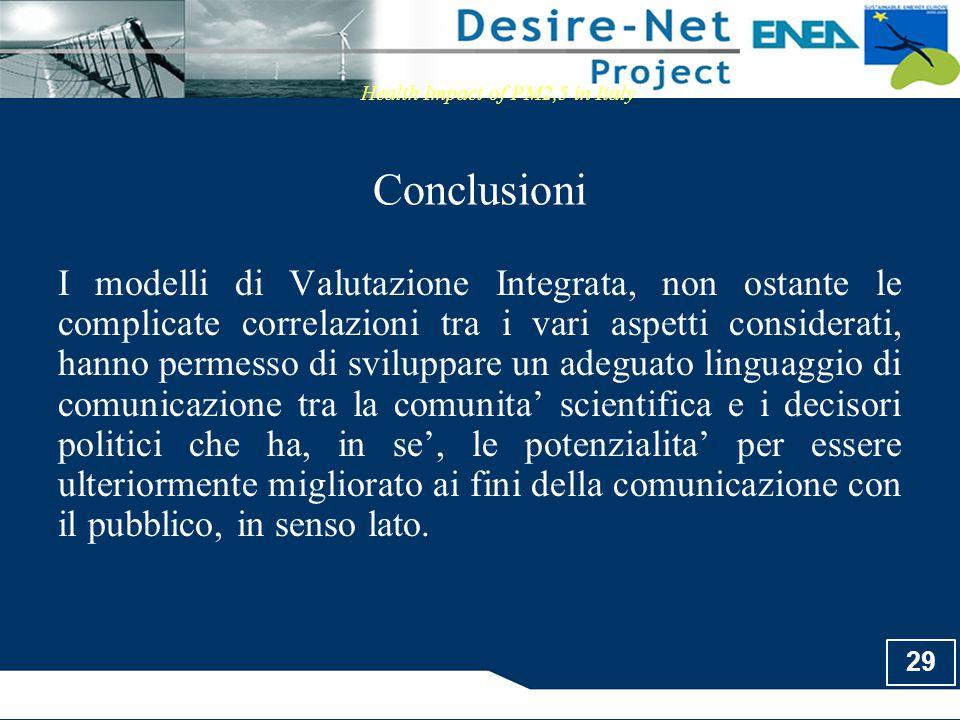 29 Conclusioni Health Impact of PM2,5 in Italy I modelli di Valutazione Integrata, non ostante le complicate correlazioni tra i vari aspetti considera